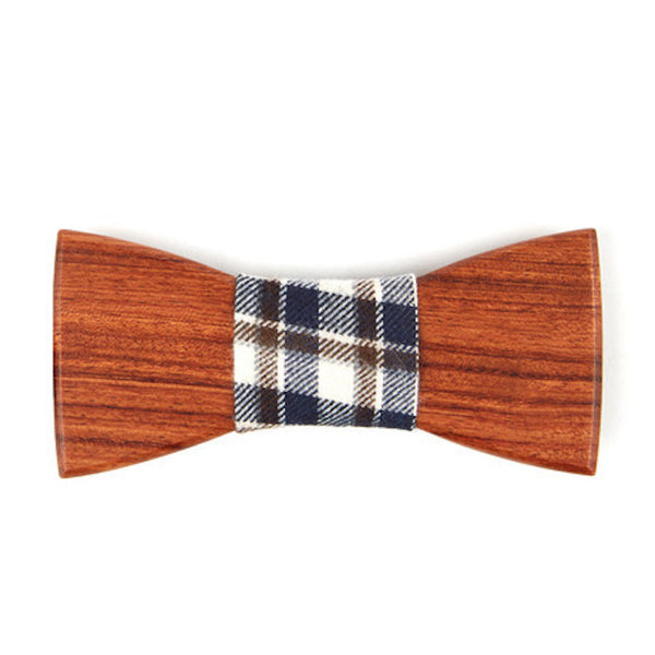 Mahogany Wooden Bowtie // Navy + Brown Plaid