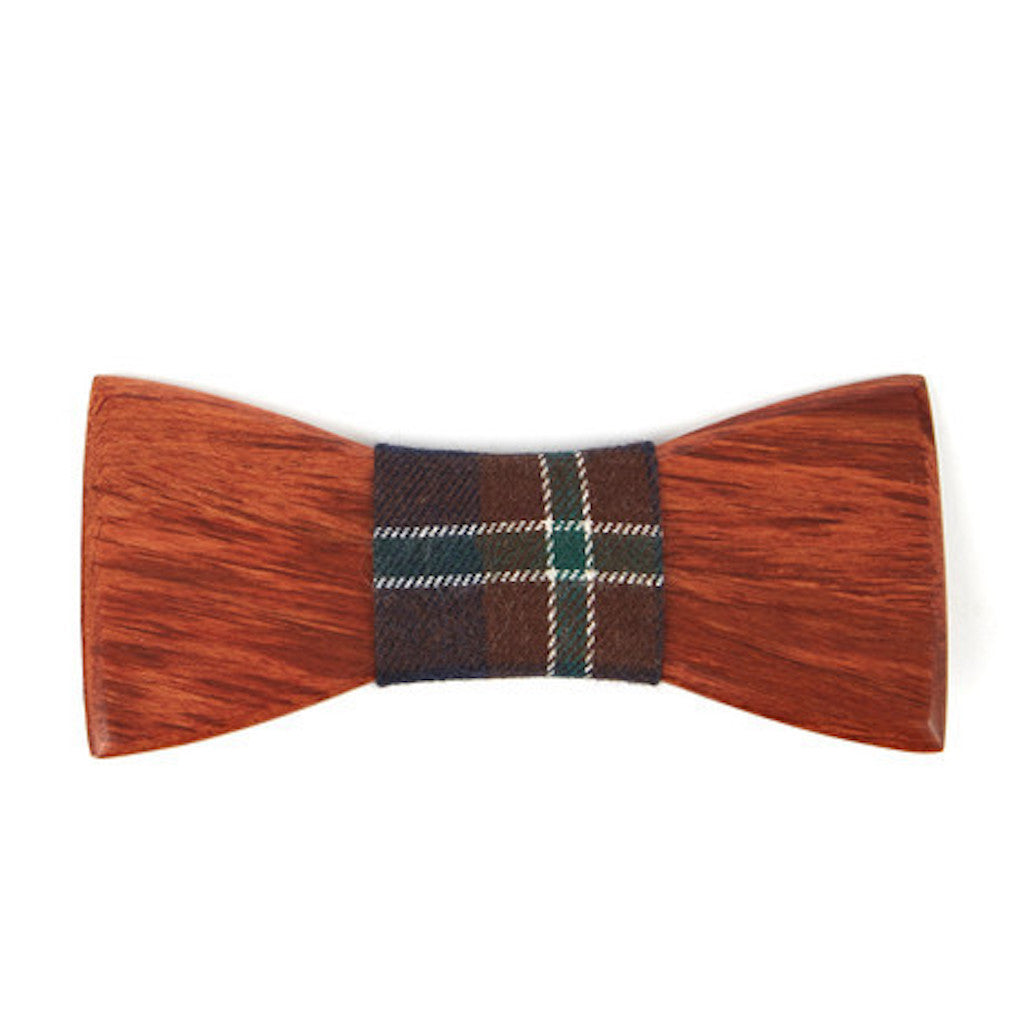 Mahogany Wooden Bowtie // Burgundy + Black Plaid