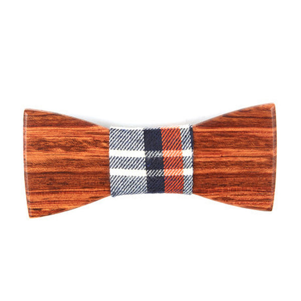 Mahogany Wooden Bowtie // Black + Red Plaid
