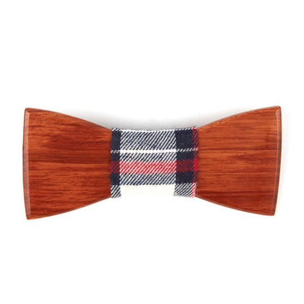 Mahogany Wooden Bowtie // Red + Black Plaid