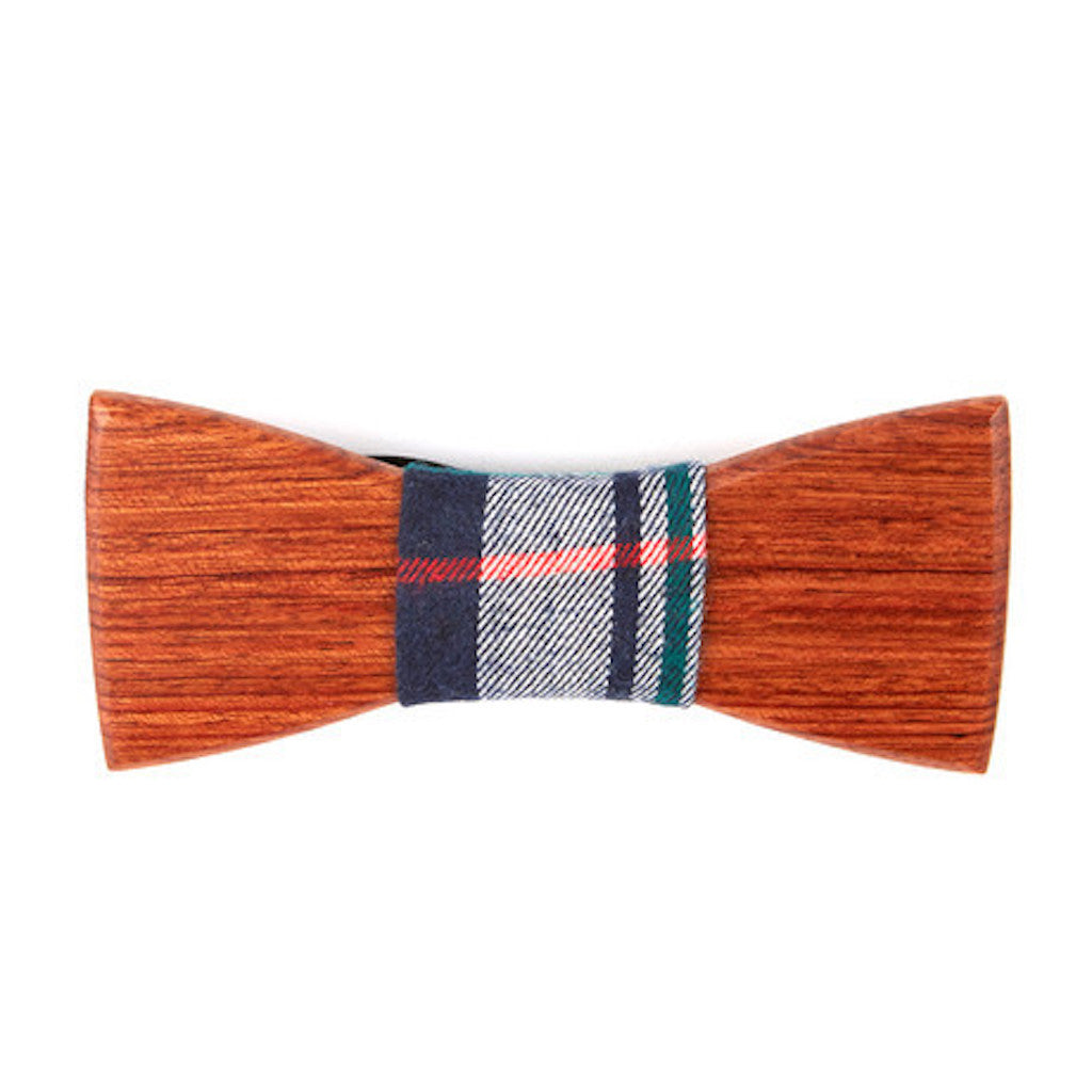 Mahogany Wooden Bowtie // Navy + Denim Plaid