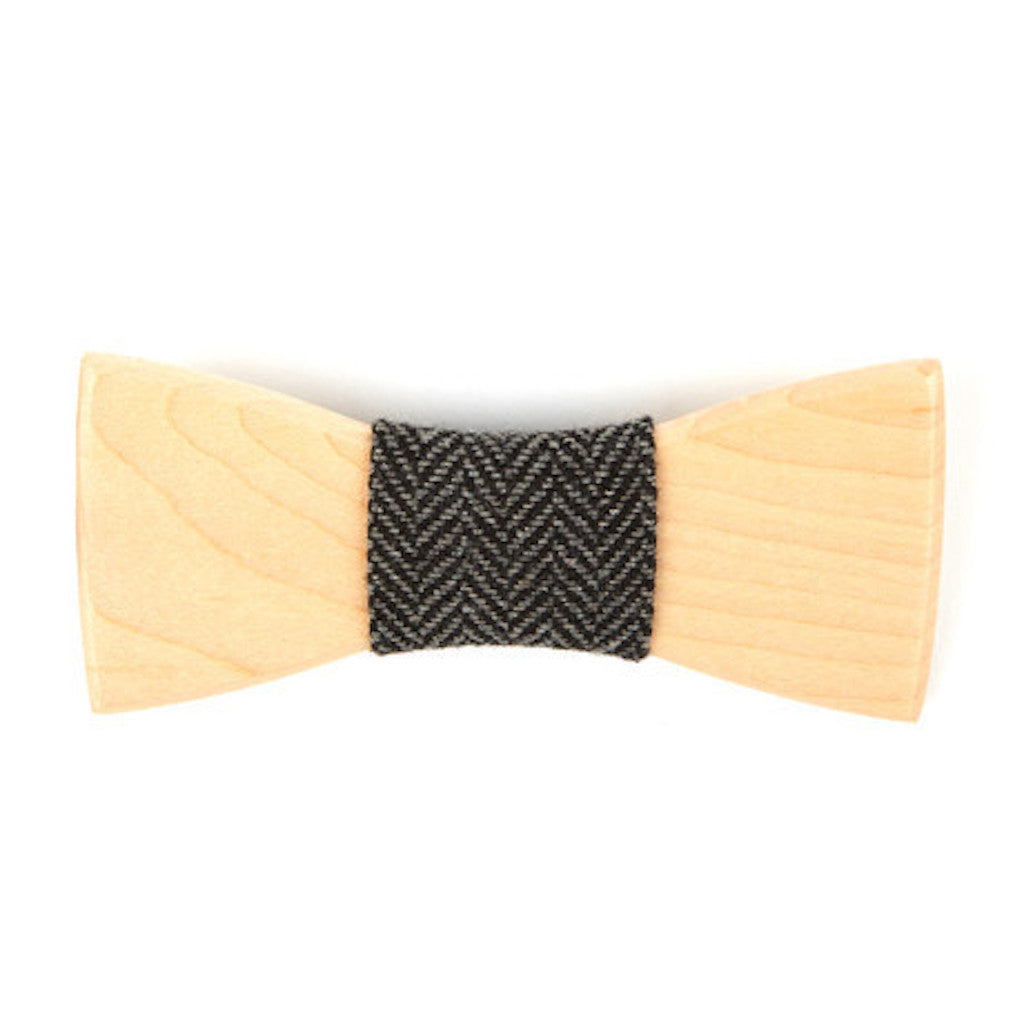 Birch Wooden Bowtie // Black + Grey Herringbone