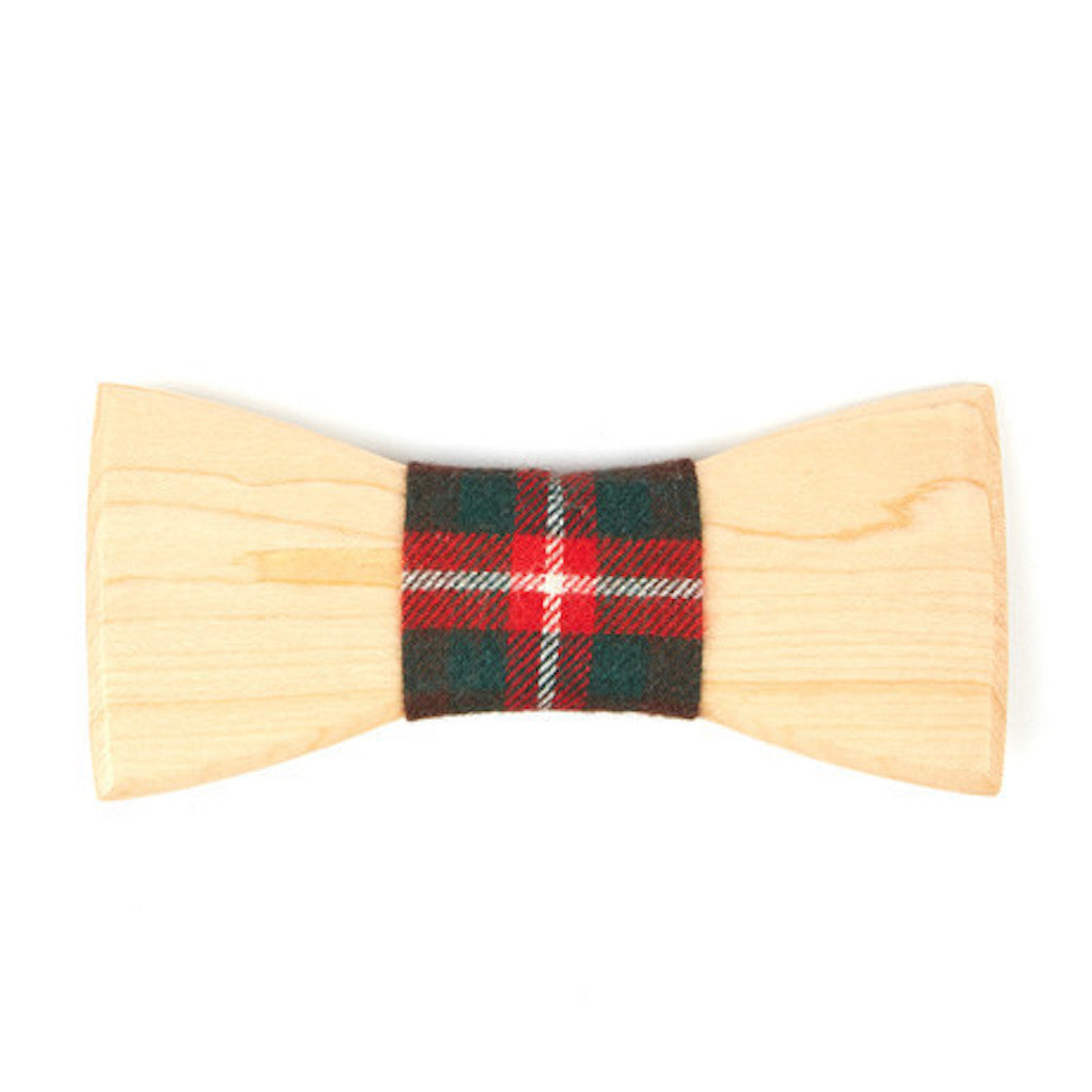 Birch Wooden Bowtie // Red + Black Plaid