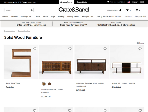 Crate and barrel solid wood furniture search