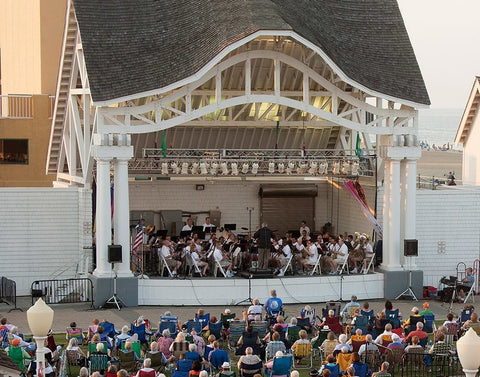 tidewater winds performing on open air stage in Virginia Beach