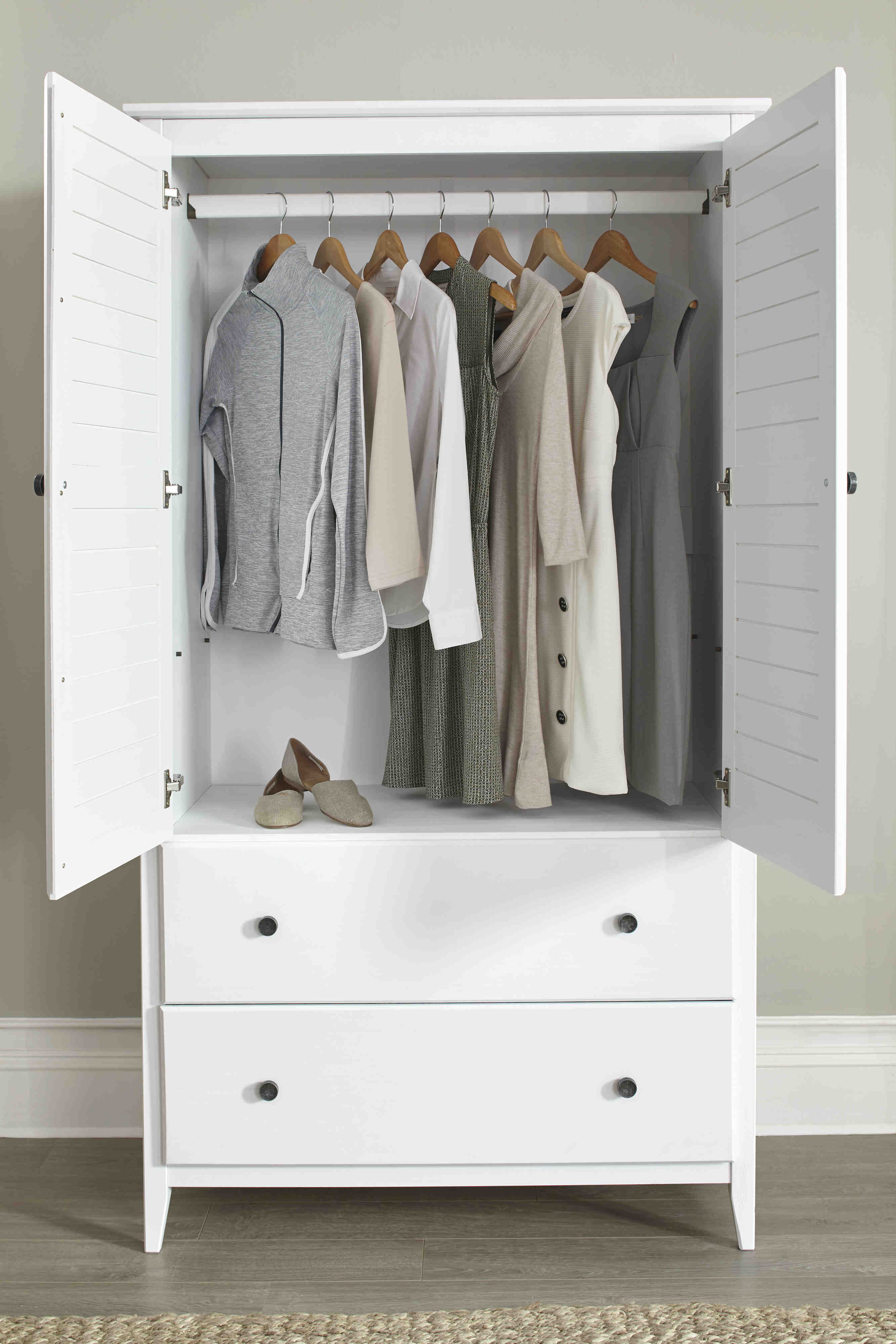 Greenport 2-Door Wardrobe Brushed White