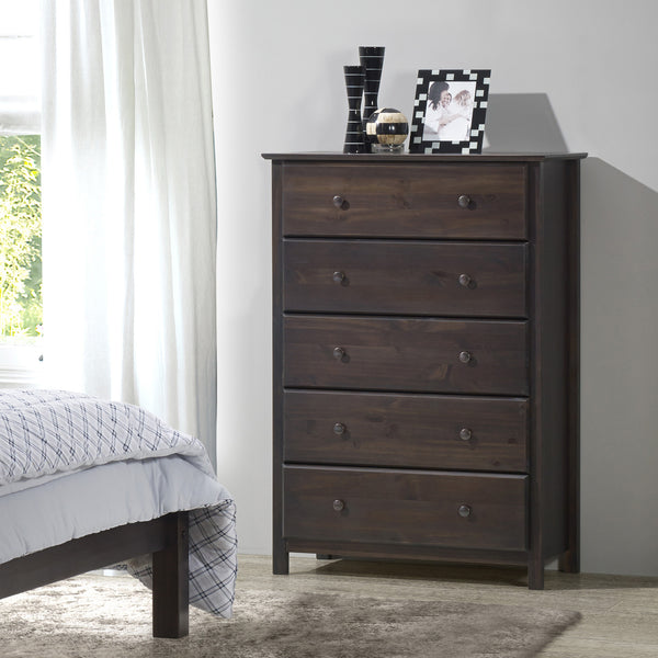 Shaker 5 Drawer Chest   Expresso   Grain Wood Furniture   4