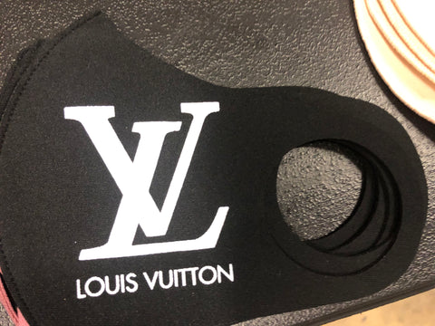LV Print Poly Thermo Face Mask (Black) Water Resistant