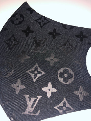 All Over LV Print Poly Thermo Face Mask (Black on Black)