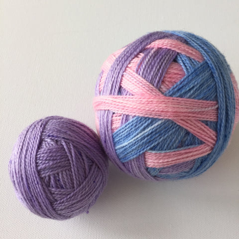 """Flopsy, Mopsy, and Cottontail"" Self-striping Sock Yarn"