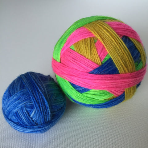 """Neon Beach Ball"" Self-striping Sock Yarn"