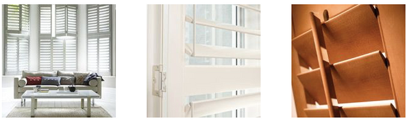 Luxaflex Counrtywood shutters available at Fabers Furnishings