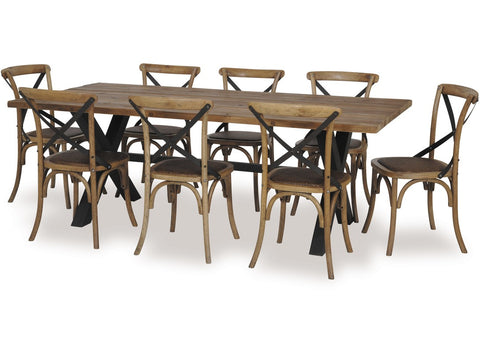 Cross 9 Piece Dining Set available at Fabers Furnishings