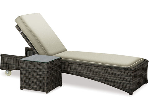 Danske Mobler Messa Outdoor Sunlounger & Side Table available at Fabers Furnishings
