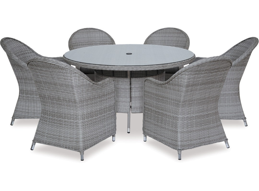 Baja 7pce 1400 Round Dining Suite Fabers Furnishings
