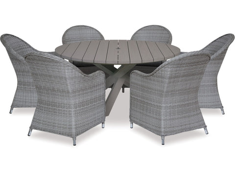 Danske Mobler Cabo 1600 Round 7pce Outdoor Dining Suite available at Fabers Furnishings
