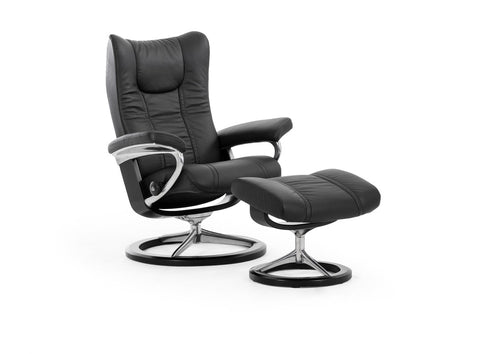Wing Leather Recliner- Stressless at Fabers Furnishings