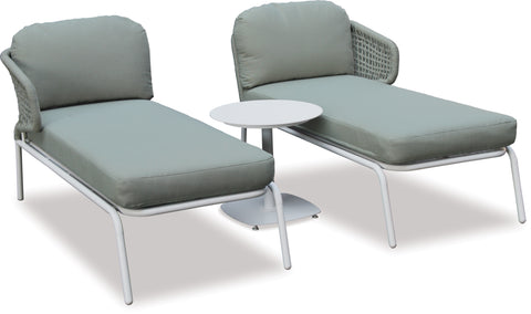 Danske Mobler Crown Outdoor Twin Sunloungers & Side Table available at Fabers Furnishings