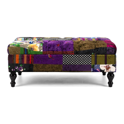 Furniture by Design Patchwork Storage Ottoman available at Fabers Furnishings