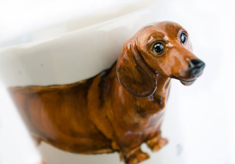 Custom 3D hand-made brown short-haired dachshund ceramic coffee mug