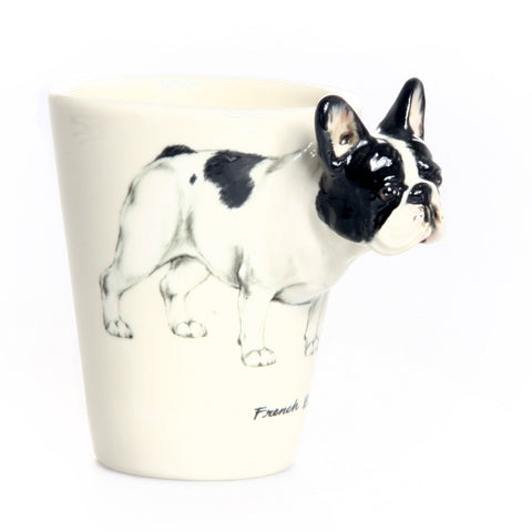 Custom 3D hand-made french bulldog ceramic coffee mug