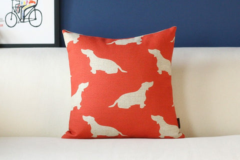 Dachshund Silhouette Pattern Pillow Case