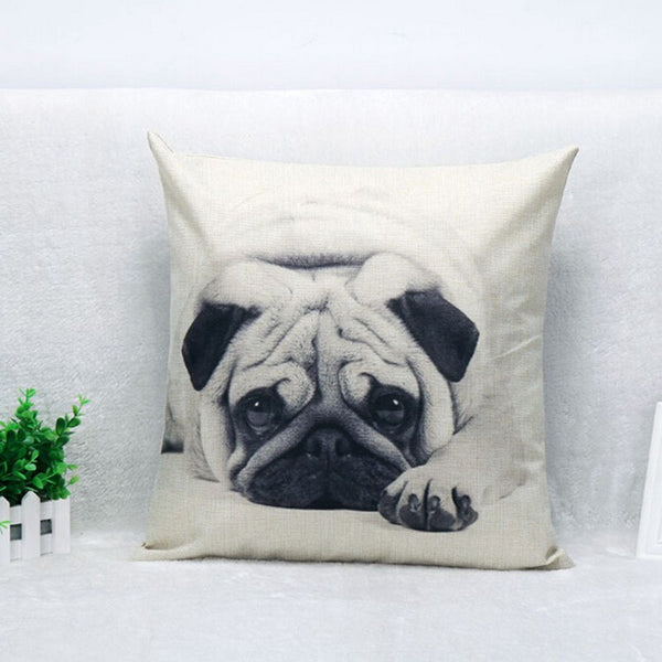 Pug eyes black/white print pillow case