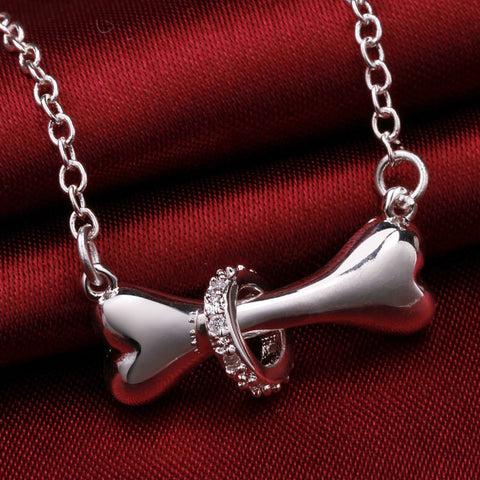FREE Dog Bone Silver Pendant Necklace with CZ studded ring