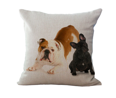 French Bulldog Linen Pillow - Double Bulldogs
