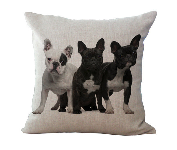 French Bulldog Linen Pillow Cases - Triple Trouble