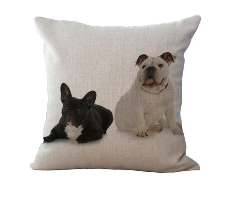 French Bulldog Linen Pillow - Cute Couple