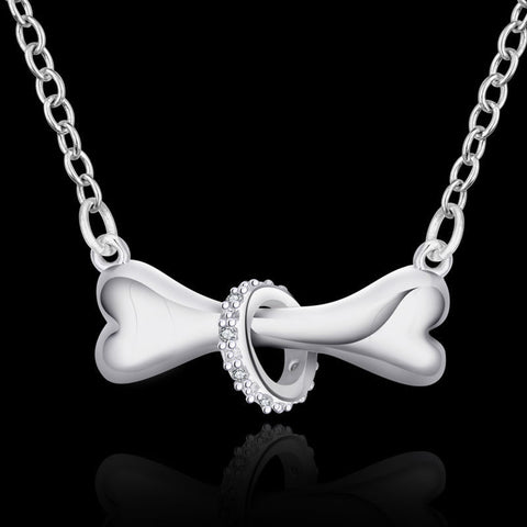 Dog Bone Silver Pendant Necklace with CZ studded ring
