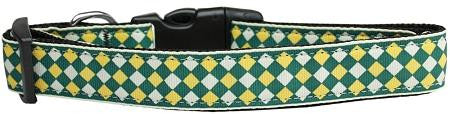 Green Checkers Nylon Dog Collar