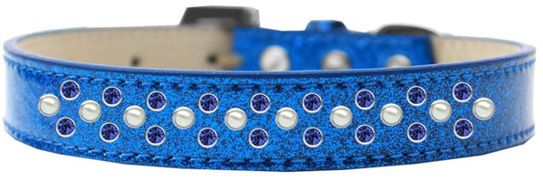 Sprinkles Ice Cream Dog Collar Pearl And Blue Crystals