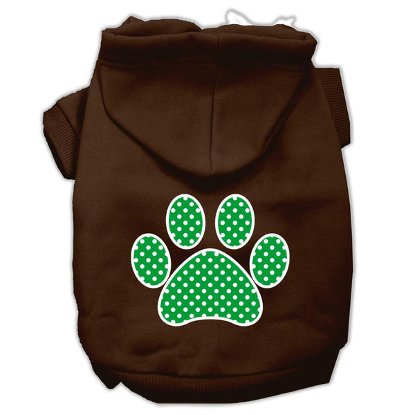 Green Swiss Dot Paw Screen Print Pet Hoodies