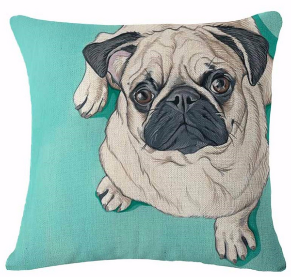 Decorative Dogs Pillow Case - Pug
