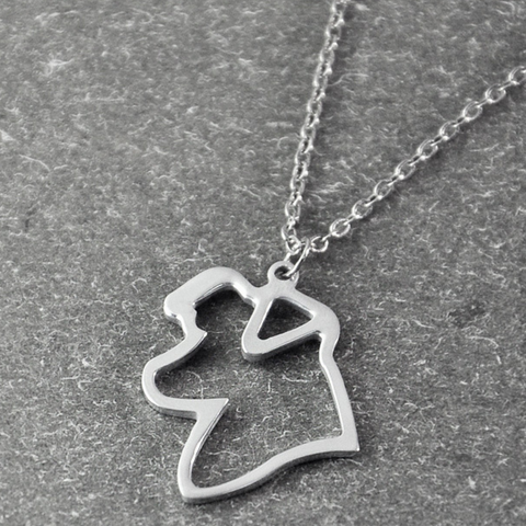 Border Collie Silhouette Pendant Necklace
