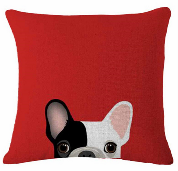 Boston Terrier Pillow - Black & White Peekaboo
