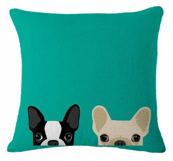 Boston Terrier Pillow - Peekaboo Two