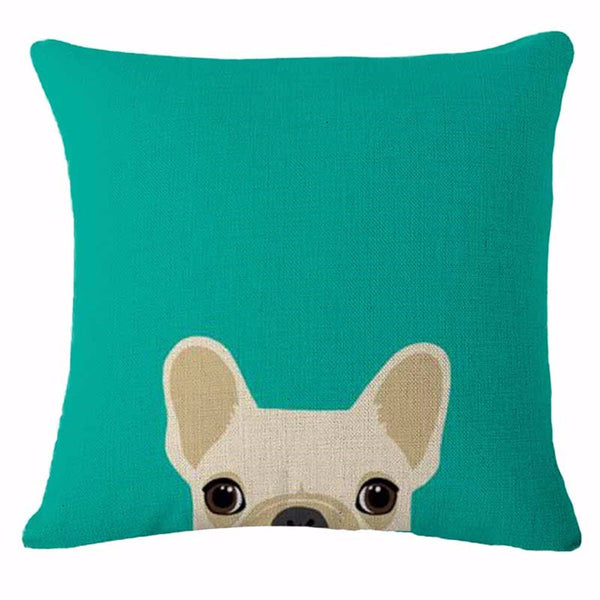 Boston Terrier Pillow - White Peekaboo