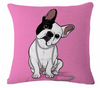 Pink French Bulldog Throw Pillow (Modern Lux)