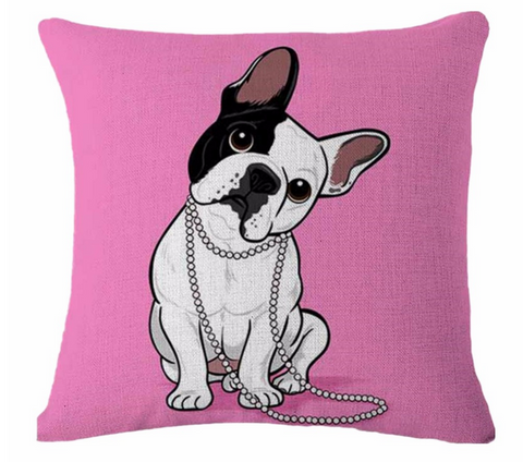Decorative Dogs Pillow Case - French Bulldog Head Tilt