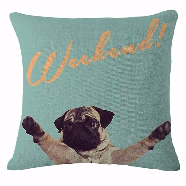Hipster Pug Throw Pillow