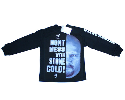 *KIDS SIZES* WWF STONE COLD STEVE AUSTIN 'DON'T MESS W/' VINTAGE LONGSLEEVE SHIRT