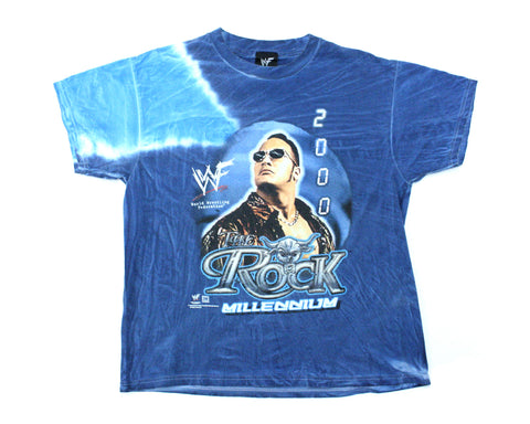 WWF THE ROCK TIE DYE VINTAGE T-SHIRT SMALL