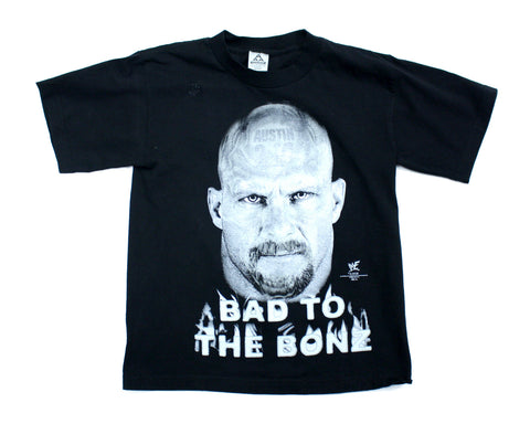 WWF STONE COLD GLOW IN THE DARK VINTAGE T-SHIRT YOUTH M