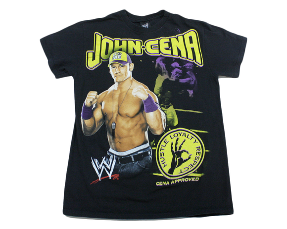 WWE JOHN CENA HLR PURPLE/YELLOW T-SHIRT MED