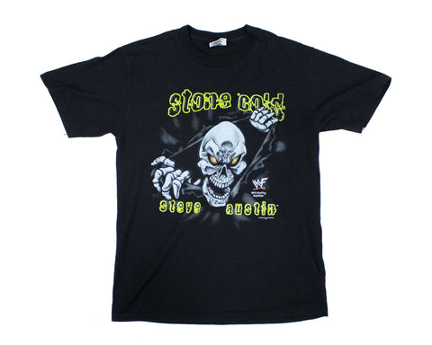 WWF STONE COLD STEVE AUSTIN YELLOW CARTOON T-SHIRT M