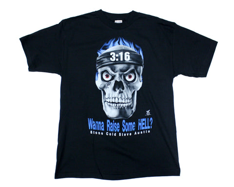 WWF STONE COLD  'RAISE HELL' CARTOON VINTAGE T-SHIRT LG