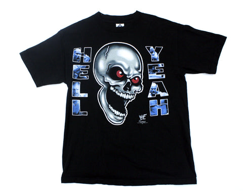 WWF STONE COLD HELL YEAH SKULL T-SHIRT MED